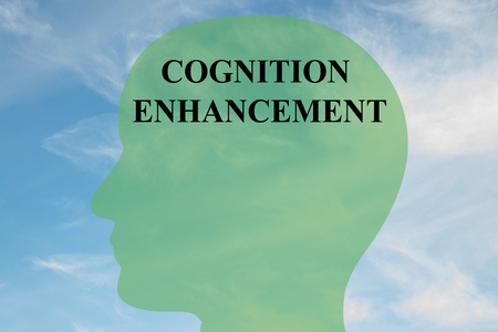 cognicion: Render illustration of COGNITION ENHANCEMENT script on head silhouette, with cloudy sky as a background. Human mind concept.