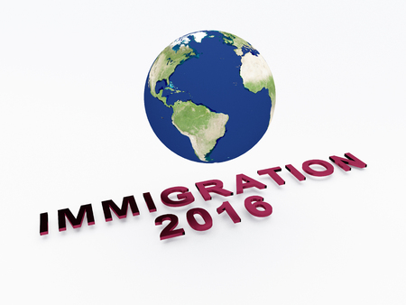 3D illustration of IMMIGRATION 2016 script , under a 3D model of the world. Earth concept.