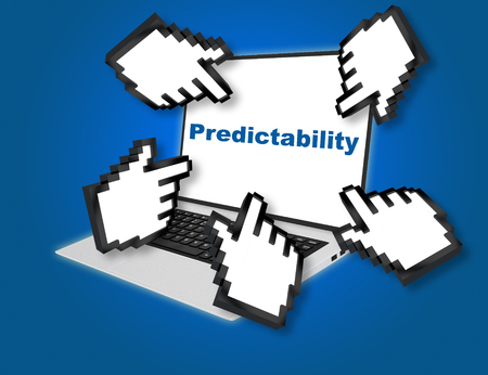 probability: 3D illustration of Predictability script with pointing hand icons pointing at the laptop screen from all sides. Business concept. Stock Photo