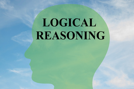 logical: Render illustration of LOGICAL REASONING script on head silhouette, with cloudy sky as a background. Human brain concept.