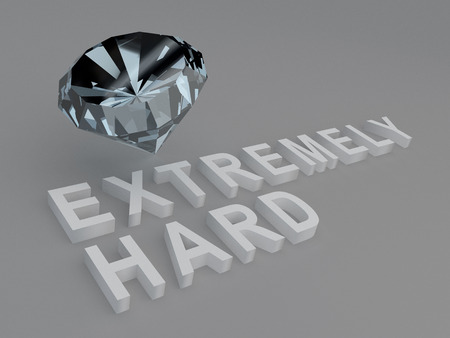 extremely: 3D illustration of EXTREMELY HARD title with a diamond as a background. Material concept.