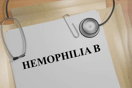 recessive: 3D illustration of HEMOPHILIA B title on medical documents. Medicial concept.