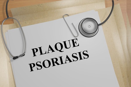 lesions: 3D illustration of PLAQUE PSORIASIS title on medical documents. Medicial concept.