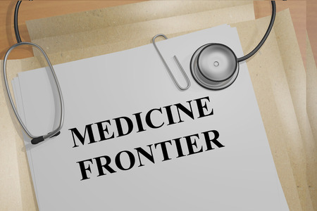 frontier: 3D illustration of MEDICINE FRONTIER title on medical documents. Medicial concept.