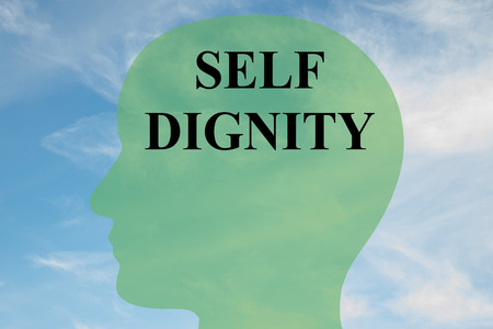 dignified: Render illustration of SELF DIGNITY script on head silhouette, with cloudy sky as a background. Human mental concept.