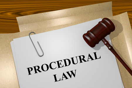 3D illustration of PROCEDURAL LAW title on Legal Documents. Legal concept.