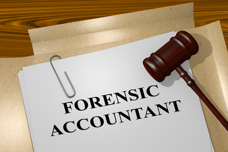 3D illustration of FORENSIC ACCOUNTANT title on Legal Documents. Legal concept.