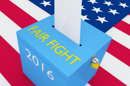 censorship: 3D illustration of FAIR FIGHT, 2016 scripts and on ballot box, with US flag as a background. Election Concept.