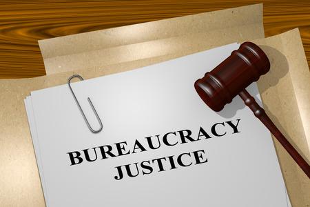 tribunal: 3D illustration of BUREAUCRACY JUSTICE title on Legal Documents. Legal concept.