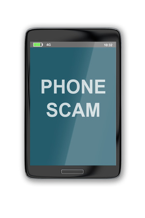 scam: 3D illustration of PHONE SCAM title on cellular screen, isolated on white. Fraud concept