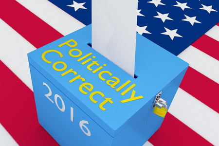 decency: 3D illustration of Politically Correct, 2016 scripts and on ballot box, with US flag as a background. Election Concept.