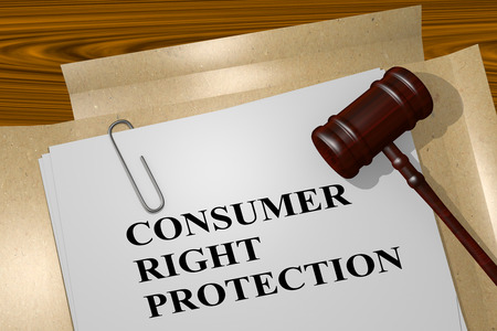 buyers: 3D illustration of CONSUMER RIGHT PROTECTION title on Legal Documents. Legal concept.