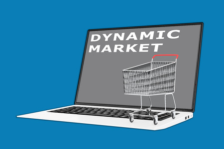 supermarket cart: 3D illustration of DYNAMIC MARKET script with a supermarket cart placed on the keyboard. Marketing concept.