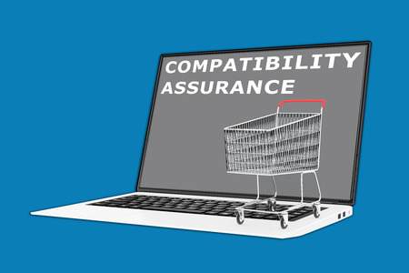 compatibility: 3D illustration of COMPATIBILITY ASSURANCE script with a supermarket cart placed on the keyboard. Consumerism concept.