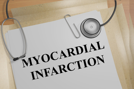 infarction: 3D illustration of MYOCARDIAL INFARCTION title on medical documents. Medical concept.