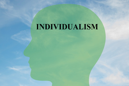 rebellious: Render illustration of INDIVIDUALISM title on head silhouette, with cloudy sky as a background. Human mentality concept.