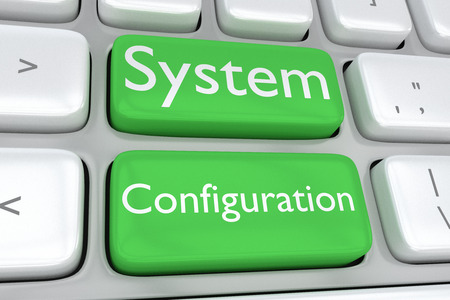 pc tune: 3D illustration of computer keyboard with the print System Configuration on two adjacent green buttons. Software concept. Stock Photo