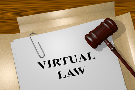 settlement: 3D illustration of VIRTUAL LAW title on Legal Documents. Legal concept. Stock Photo
