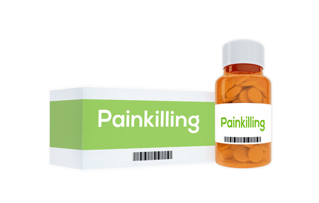 curative: 3D illustration of Painkilling title on pill bottle, isolated on white. Medication concept.