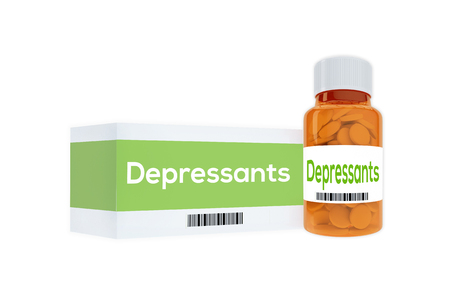miserable: 3D illustration of Depressants title on pill bottle, isolated on white. Medication concept. Stock Photo
