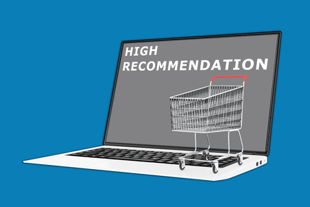recommendation: 3D illustration of HIGH RECOMMENDATION script with a supermarket cart placed on the keyboard. Consumerism concept.