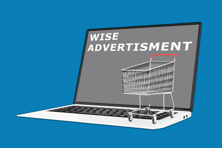 supermarket cart: 3D illustration of WISE ADVERTISMENT script with a supermarket cart placed on the keyboard. Consumerism concept.