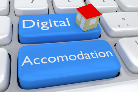 accommodation: 3D illustration of computer keyboard with the script Digital Accommodation on two adjacent pale blue buttons, and a house on one of these buttons. Accommodation concept. Stock Photo