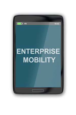 phoning: 3D illustration of ENTERPRISE MOBILITY title on cellular screen, isolated on white. Communication concept. Stock Photo