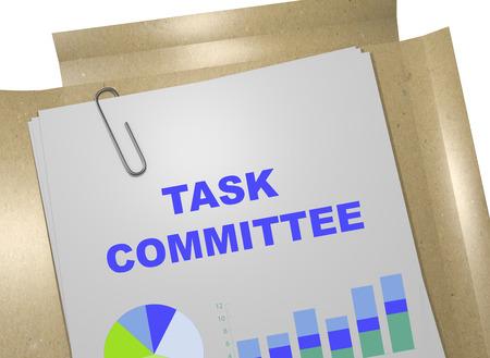 """comité d entreprise: 3D illustration du titre """"COMITE TASK"""" sur le document d'entreprise. Concept d'affaire."""