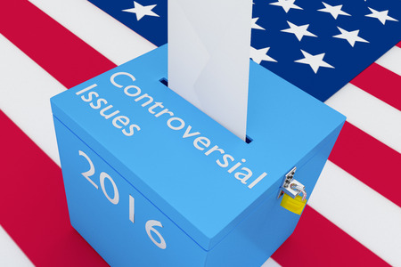 turnout: 3D illustration of Controversial Issues, 2016 scripts and on ballot box, with US flag as a background. Election Concept. Stock Photo