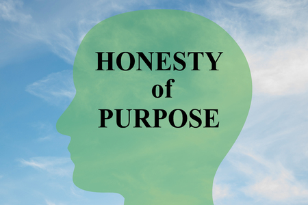 honesty: Render illustration of HONESTY of PURPOSE script on head silhouette, with cloudy sky as a background. Human mental concept. Stock Photo