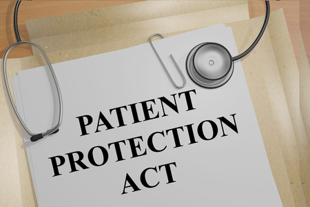 medicaid: 3D illustration of PATIENT PROTECTION ACT title on medical documents. Medicial concept. Stock Photo