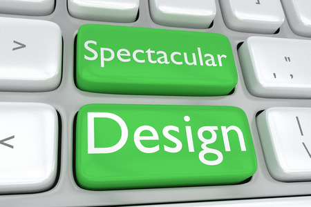 adjacent: 3D illustration of computer keyboard with the print Spectacular Design on two adjacent green buttons. Design concept. Stock Photo