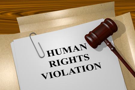 violation: 3D illustration of HUMAN RIGHTS VIOLATION title on Legal Documents. Legal concept. Stock Photo