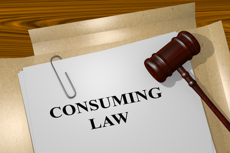 consuming: 3D illustration of CONSUMING LAW title on Legal Documents. Legal concept.