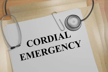 cordial: 3D illustration of CORDIAL EMERGENCY title on medical documents. Medical concept. Stock Photo