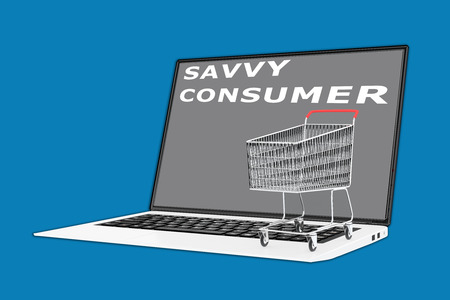 savvy: 3D illustration of SAVVY CONSUMER script with a supermarket cart placed on the keyboard. Consumerism concept. Stock Photo