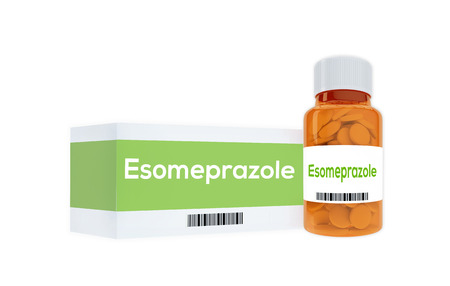 inhibitor: 3D illustration of Esomeprazole title on pill bottle, isolated on white. Medication concept. Stock Photo