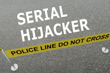 malice: 3D illustration of SERIAL HIJACKER title on the ground in a police arena. Police concept
