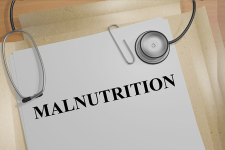 starvation: 3D illustration of MALNUTRITION title on medical documents. Medical concept. Stock Photo