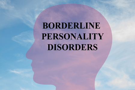 obsessive compulsive: Render illustration of BORDERLINE PERSONALITY DISORDERS script on head silhouette, with cloudy sky as a background. Human mental concept.