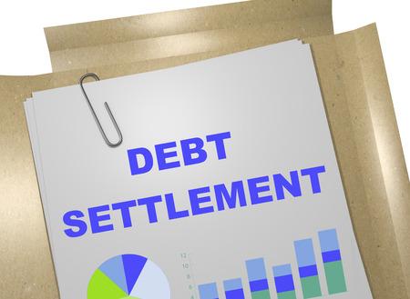 """Ilustración 3D del título de """"liquidación de deudas"""" en el documento de negocios. Concepto de negocio."""