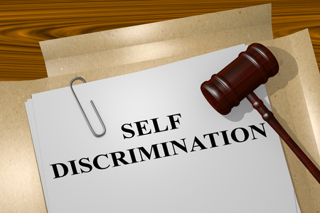 attacker: 3D illustration of SELF DISCRIMINATION title on Legal Documents. Legal concept.