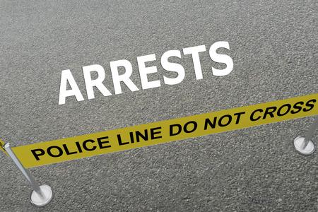 arrests: 3D illustration of ARRESTS title on the ground in a police arena. Police concept