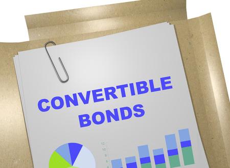 ビジネス文書に「転換社債」タイトルの 3 D イラストレーション。ビジネス コンセプトです。
