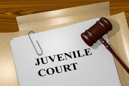 juvenile: 3D illustration of JUVENILE COURT title on Legal Documents. Legal concept. Stock Photo