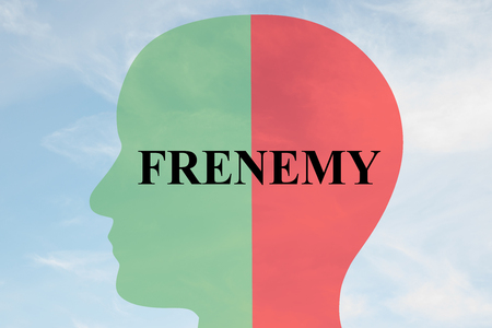 pretender: Render illustration of FRENEMY script on head silhouette, with cloudy sky as a background. Human personality concept.