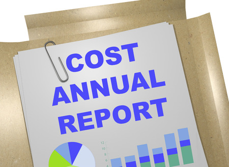 3D illustration of COST ANNUAL REPORT title on business document. Business concept.