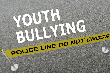 torment: Render illustration of YOUTH BULLYING title on the ground in a police arena. Police concept