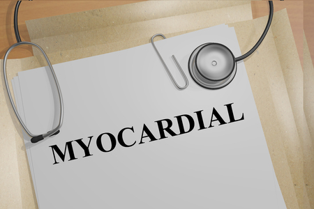 myocardial: 3D illustration of MYOCARDIAL title on medical documents. Medical concept. Stock Photo
